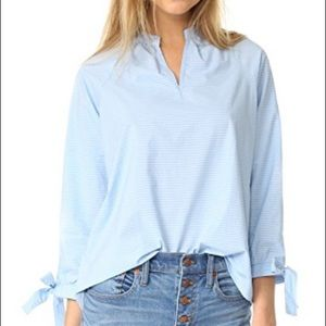 Tie sleeve popover striped tunic   Madewell